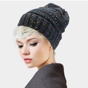 Knit beanie confetti novelty yarn skully knit hat